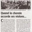 Quand la chorale accorde ses violons, Charente Libre, 14/12/2012