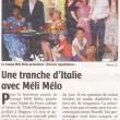 Une tranche d'Italie avec Méli Mélo, Charente Libre, 24/04/2013